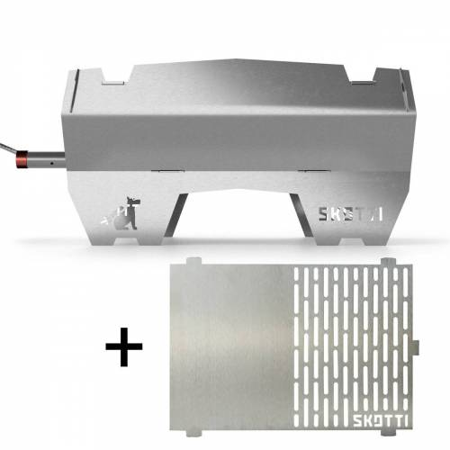 SKOTTI Gasgrill + Plancha in SET - ready-to-go #grill.einfach.überall - Steckgrill Edelstahl