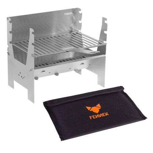 FENNEK - LIGHT Grill - 100% Edelstahl - zerlegbar - Grillfläche 26,9 x 18,3cm