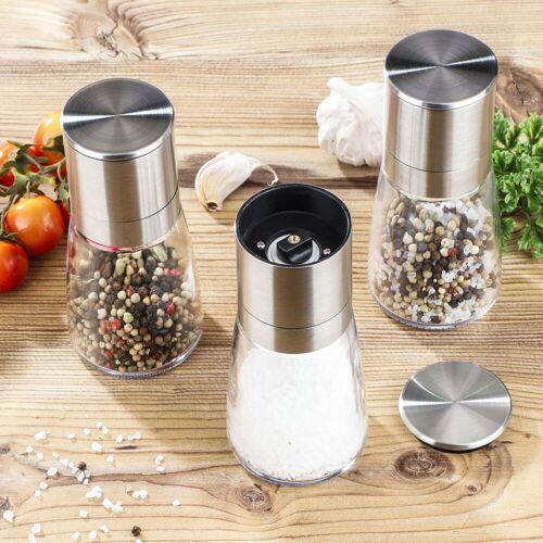 HI Gewürzmühlen - für Salz, Pfeffer oder Gewürze - Edelstahl - D: 6,5cm, H: 13cm - 3er Set