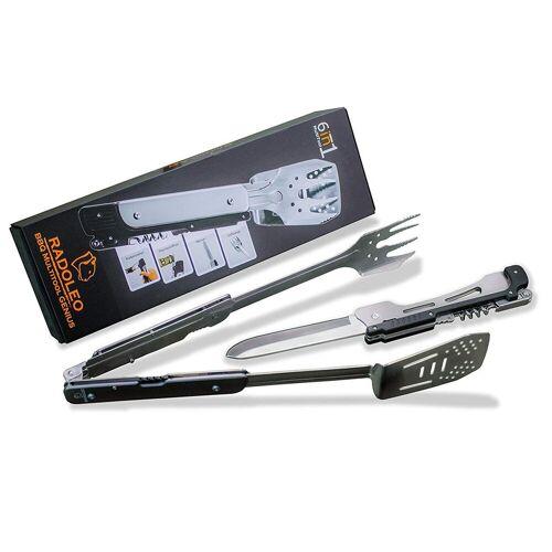RADOLEO® Grill-Multi-Tool GENIUS Grillbesteck   6 Werkzeuge in 1 - Edelstahl Klappbesteck