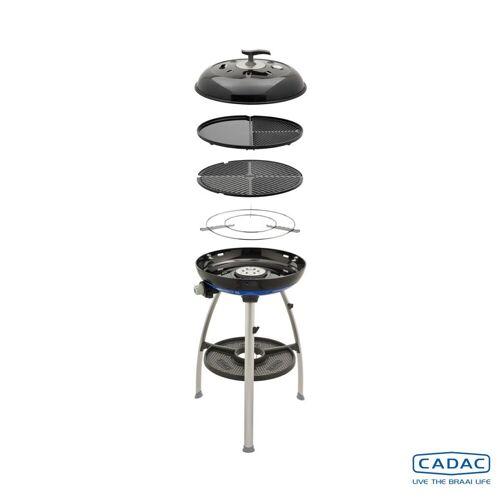 CADAC Carri Chef 2 GRILL2BRAAI - 50mbar - mobiler Gasgrill - Grillrost/Grillplatte/Plancha - Deckel