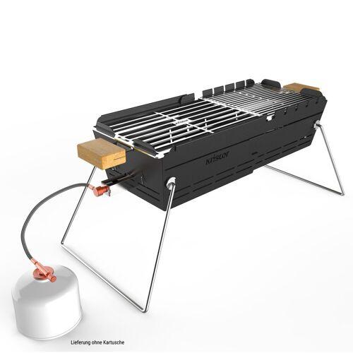 KNISTER Gasgrill - ausziehbar - für Kartuschenbetrieb - Made in Germany