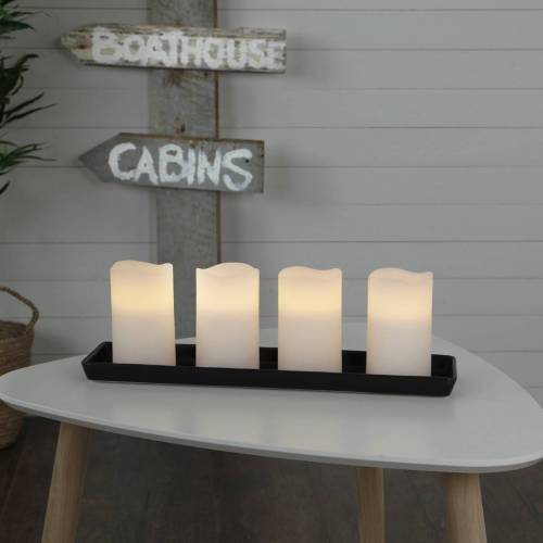 StarTrading LED Kerzenset MAY - Echtwachs - flackernde LED - Timer - H: 12,5cm, D: 7,5cm - weiß - 4er Set