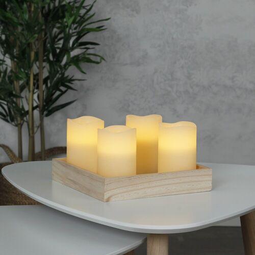 StarTrading LED Kerzenset MAY - Echtwachs - flackernde LED - Timer - H: 12,5cm, D: 7,5cm - creme - 4er Set