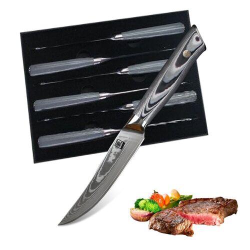 ZAYIKO - Premium Steakmesser 6er Set Damastmesser