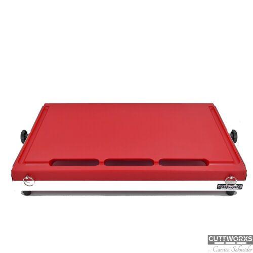 CUTTWORXS - BIG RED - 54x38mm - PE Schneideplatte - Edelstahl/Alu - Profi Arbeitsstation