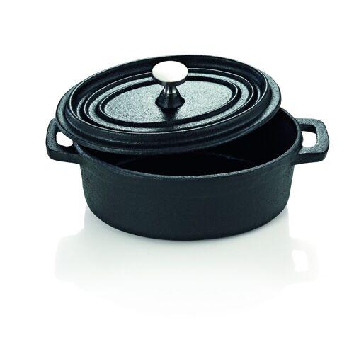 W-A-S Cocotte - kleiner Gusstopf zum Kochen und Schmoren - Oval 12x9cm - mit Deckel