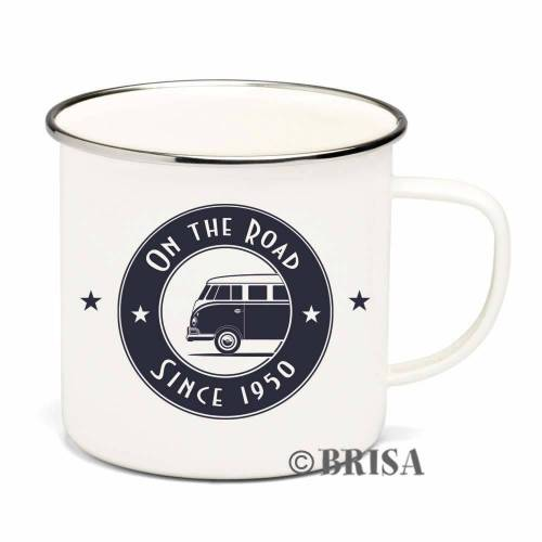 """VW Collection Emaille Tasse """"ON THE ROAD"""" - 500ml - mit Edelstahlrand"""