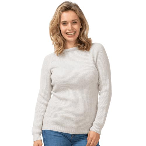 North Outdoor Women's KIIRUNA Sweater - 100 % Merino Wool, Porridge Grey / XL