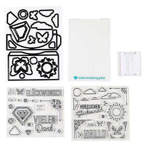 diamondpress Schablonen-Set Pop-up Karte inkl. Stempel 55tlg.