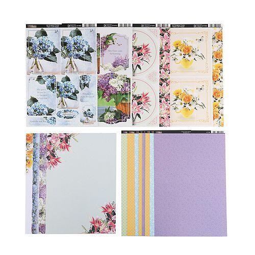 KANBAN Grußkarten floral Ausstanzungen & Kartenpapiere, 36tlg.