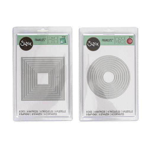 SIZZIX® Schablonen-Set Stanzschablonen Kreis & Quadrat 16tlg.
