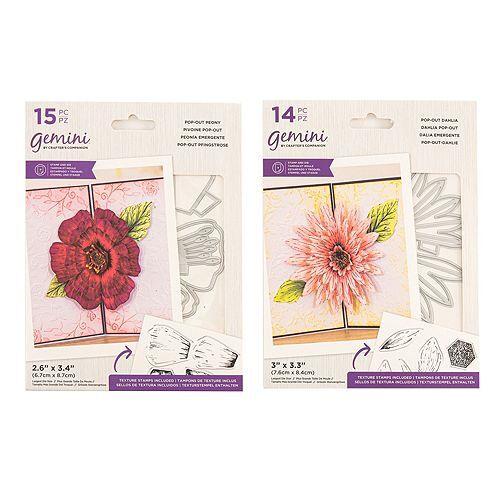 CRAFTER'S COMPANION Schablonen-Set Stanzschablonen & Stempel Pop-up Blumen 29tlg.