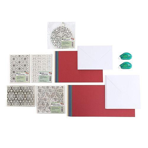 KARIN JITTENMEIER Grußkarten-Set Laser-Kartenaufleger Klebe-Wabenroller 142tlg.