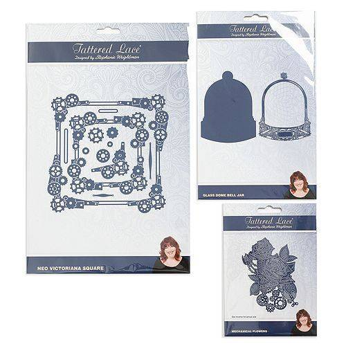 CREATE AND CRAFT TATTERED LACE® Kreativ-Set Stanzschablonen 3D-Zahnräder, 15tlg.