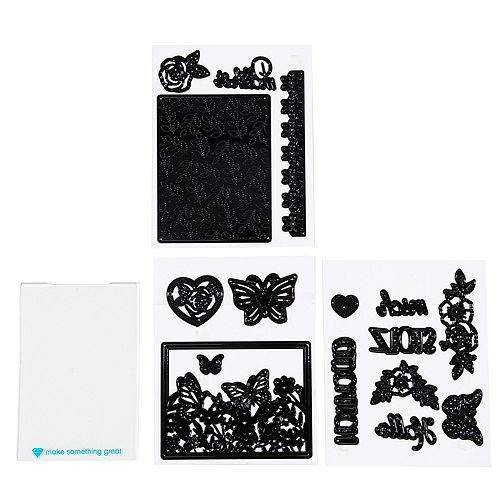 diamondpress Schablonen-Set Schmetterlingskarte inkl. Stanzschablonen 17tlg.