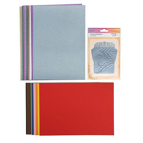 Schablonen-Set Stanzschablone Umschlag & Tonpapier 121tlg.