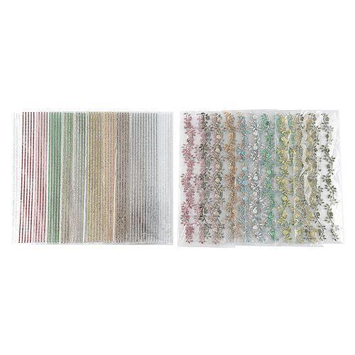 KARIN JITTENMEIER Kristallkunst-Set Schmucksteinbordüren verschiedene Designs 20tlg.