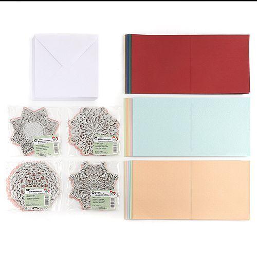 Grußkarten-Set Kartenaufleger Zierdeckchen, Karten & Umschläge 140tlg.