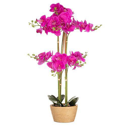 ABELLA Flora künstliche Orchidee Realtouch-Effekt Topf in Jute-Optik Höhe ca. 70cm