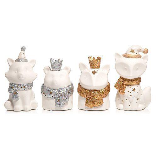 LUMIDA Ceramica Porzellanfiguren Tiere Brenndauer 300h 4er-Set