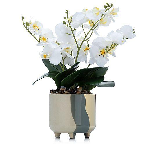 ABELLA Flora Orchidee Designtopf black & gold Höhe ca. 35cm