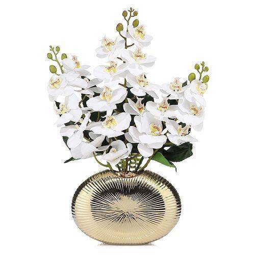 ABELLA Flora künstliche Orchidee Höhe ca. 60cm Designtopf 28x10x18cm