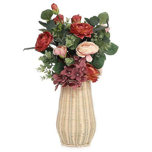 ABELLA Flora künstl. Blumenstrauß Rattankorb Höhe ca. 50cm