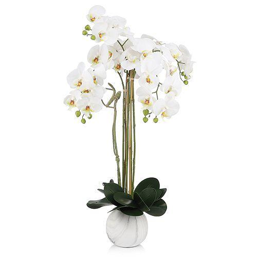 ABELLA Flora künstliche Orchidee Designtopf Marmor-Optik Höhe ca. 70cm