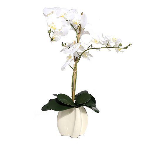 ABELLA Flora künstliche Orchidee 19 Blüten Designtopf Höhe ca. 70cm