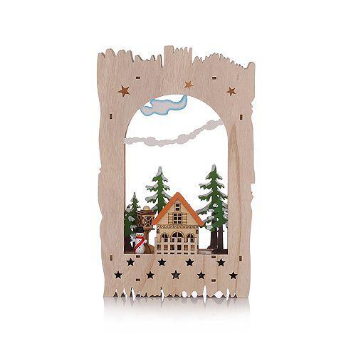 LUMIDA Xmas Holzdekoration Winter-Szenerie Holzscheitform Timer, ca. 22x6x35cm