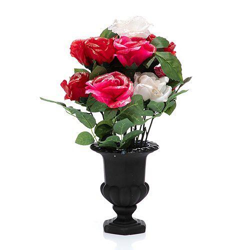 ABELLA Flora künstl. Blumenstrauß winterlich beglitzert Glasvase Höhe ca. 50cm