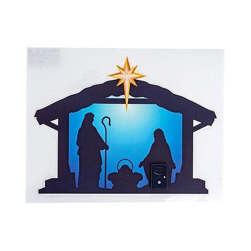 LUMIDA Xmas LED-Fensterbild Krippen-Szenerie beleuchteter Stern 5h-Timer, 32x 24,5cm