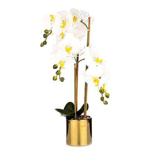 ABELLA Flora künstliche Orchidee im goldenen Topf Höhe ca. 60cm