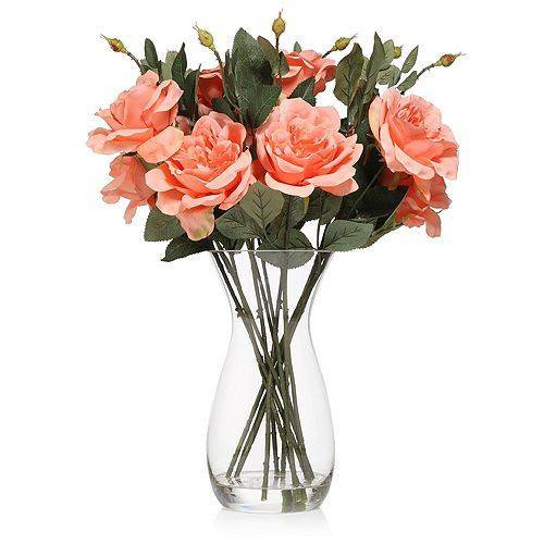 ABELLA Flora Kunstblumen 12 Rosen Glasvase Höhe ca. 50cm