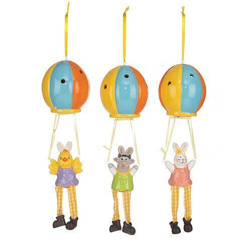 LUMIDA Casa 3 LED-Figuren Fallschirmspringer mit Osterei Timer, Höhe 33cm