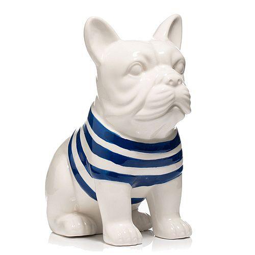 LUMIDA Ceramica Dekoration franz. Bulldogge Dolomit Höhe ca. 25cm
