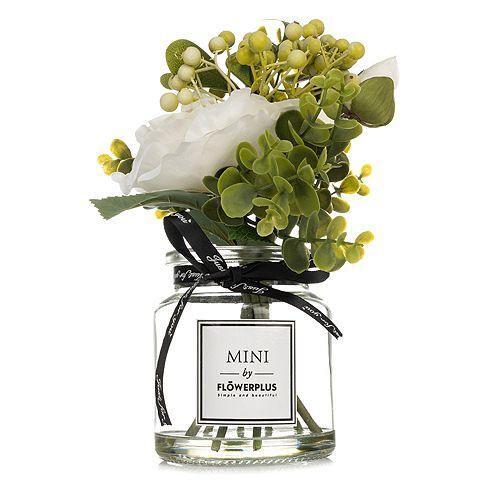 ABELLA Flora Mini-Blumenstrauß künstlich Glasvase Höhe ca. 24cm