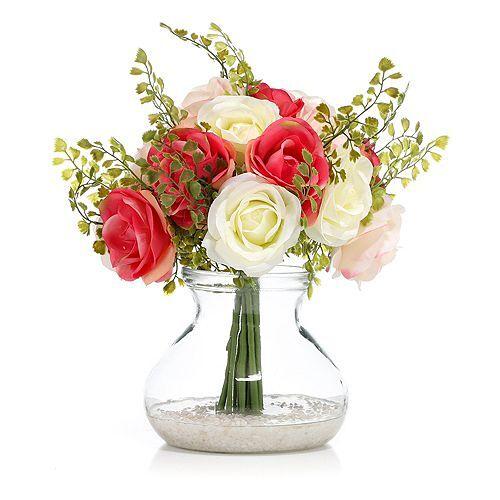 ABELLA Flora künstl. Blumenstrauß Glasvase Höhe ca. 35cm