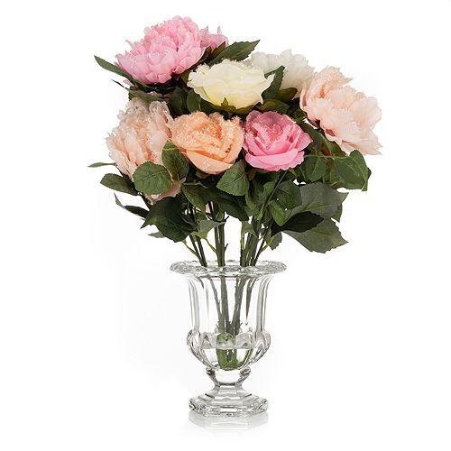 ABELLA Flora künstliche Rosen- & Pfingstrosen Blumenstrauß Glasvase