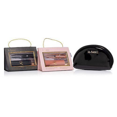 LA-TWEEZ Sparkling Collection beleuchtete Pinzette im Doppelpack mit Tasche
