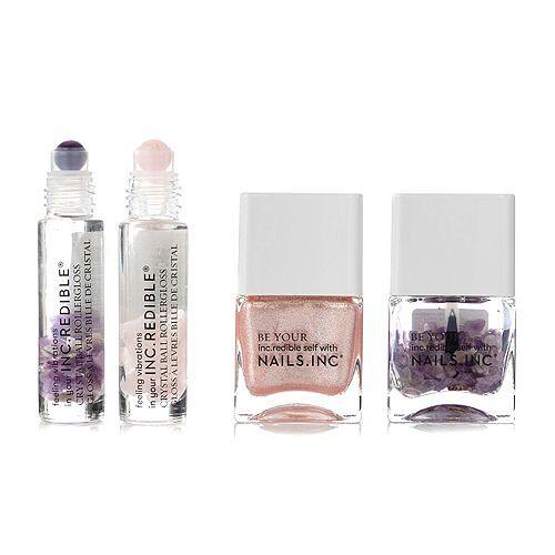 NAILS.INC® Nagel- & Lippen-Set Nagellack, Topcoat 2x Lippenroller mit pflegenden Kristallen