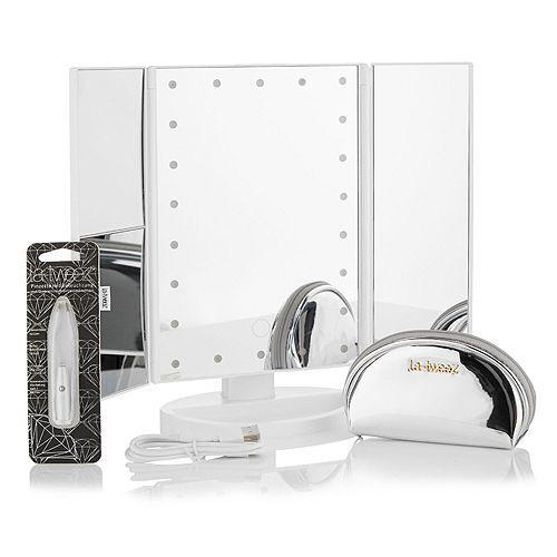 ECO LA-TWEEZ Eco-Tweezer mit LED-Licht, Pouch & ausklappbarem LED-Kosmetikspiegel