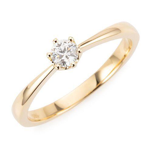 DIAMOUR Solitär-Ring 1 lupenreiner Diamant ca. 0,19ct Gold 585