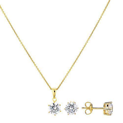 DIAMONIQUE® Anhänger & Ohrstecker-Set = 3,00ct Silber 925