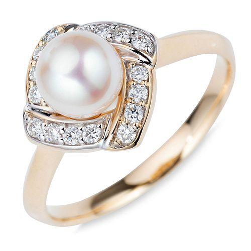 PERLEA Ring Akoyazucht- perle 6,5-7mm Gold 585