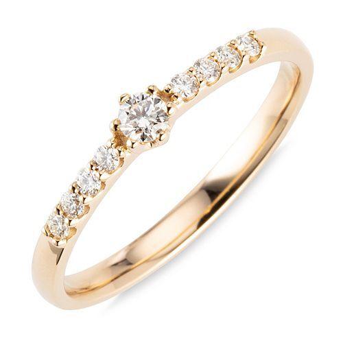 DIAMOUR Ring 9 Brillanten zus. ca. 0,20ct Gold 585