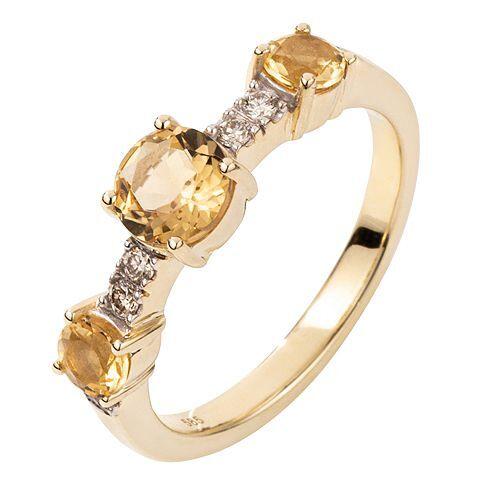 ROYELLE Goldberylle ca.0,95ct Ring Brillanten ca. 0,12ct Gold 585