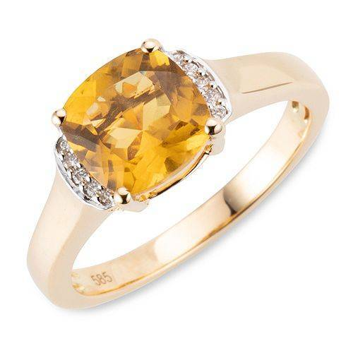 ROYELLE Goldberyll ca. 2,05ct Ring 10 Brillanten 0,04ct Gold 585