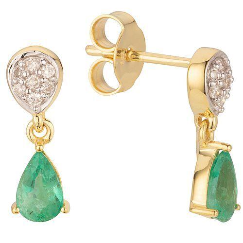 ROYELLE Ohrhänger Kolumbianischer Smaragd ca. 0,64ct Gold 585